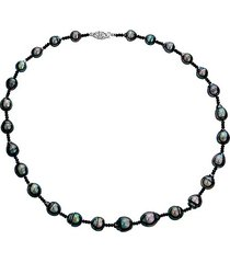 14k white gold, 9-11mm tahitian pearl & black spinel necklace