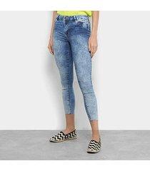calça jeans skinny sawary push up cintura média feminina