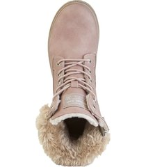 kängor med fluffig kant mustang rosa