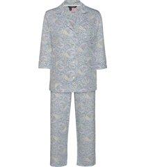 lrl 3/4 sl. notch collar pant pj set pyjama blauw lauren ralph lauren homewear