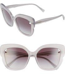 women's tiffany & co. 56mm square cat eye sunglasses - opal grey/ grey gradient