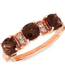 le vian women's 14k strawberry gold®, chocolate quartz® & nude diamond™ ring - size 7