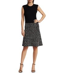 st. john women's kaleidoscope flag tweed dress - caviar multi - size 14