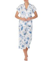 lauren ralph lauren paisley dolman sleeve capri pajamas, size x-large in ivory print at nordstrom
