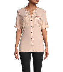 karl lagerfeld paris women's knit camp shirt - blush - size xs