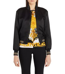 women's versace embroidered medusa logo back satin bomber jacket, size 12 us - black