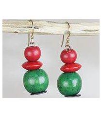 sese wood and recycled plastic dangle earrings, 'cool watermelon' (ghana)