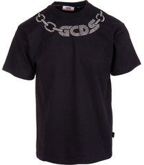 gcds man black t-shirt with rhinestone chain logo