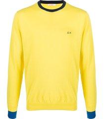 sun 68 elbow patches crew neck sweatshirt - yellow