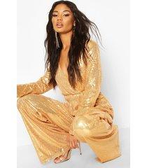 wrap front sequin wide leg jumpsuit, rose gold