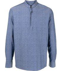giorgio armani jacquard zip-up shirt - blue