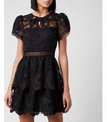 self portrait women's lace guipure tiered mini dress - black - uk 12