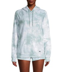 marc new york performance women's tie-dyed cotton-blend hoodie - blue combo - size l