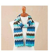 alpaca blend scarf, 'oceanic zigzags' (peru)