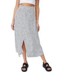 women's woven finley button down midi skirt