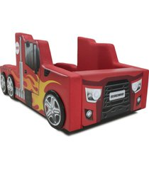 cama infantil hot truck vermelho - vermelho - dafiti