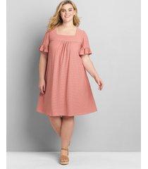 lane bryant women's eyelet flutter-sleeve swing dress 18/20 dusty rose