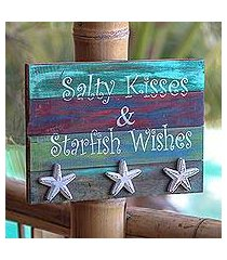 wood wall sign, 'starfish wishes' (indonesia)
