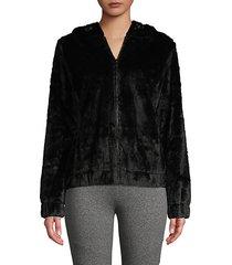 faux fur drawcord hoodie