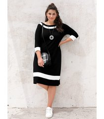 jersey jurk miamoda zwart::crème
