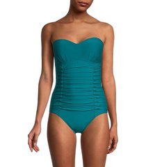 dkny women's pleated bandeau one-piece swimsuit - teal - size 6