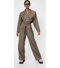 womens belted high waisted wide leg pants - khaki