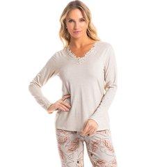 pijama longo estampado cássia