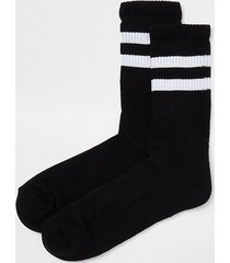 river island mens black stripe tube socks