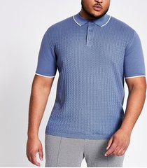 river island mens big and tall blue slim fit knit polo shirt