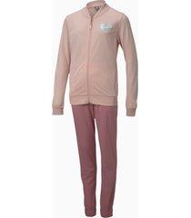 polyester trainingspak, roze, maat 140 | puma