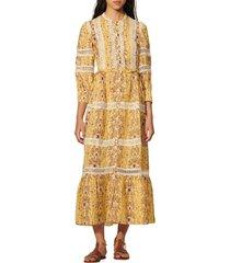 women's sando angeliqua lace accent dress, size 6 us - yellow
