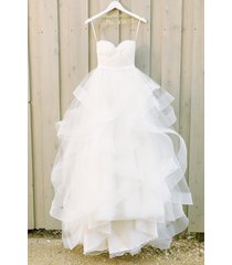 twisted wedding dress with horsehair trim