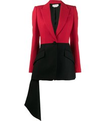 alexander mcqueen two-tone draped blazer - black