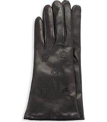 portolano women's floral leather gloves - black - size 6.5