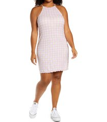 bp. sleeveless knit dress, size 2x in purple tulip tic tac check at nordstrom