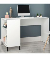 mesa para escritório bc 78 branco/metal preto - brv moveis