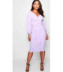 off the shoulder wrap midi bodycon dress, lilac
