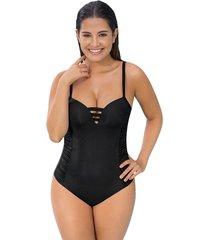 vestido de baño entero de doble realce - swimwear negro leonisa