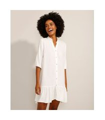 vestido chemise curto com babado manga 3/4 branco