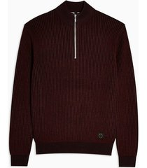 mens red burgundy plaited half zip sweatshirt
