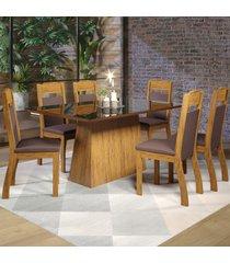 mesa de jantar 6 lugares baly seda/preto/fumê - viero móveis