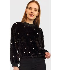 sweater nrg perlas peludito negro - calce holgado
