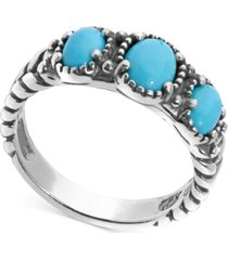 american west turquoise three stone statement ring in sterling silver