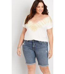 plus size jeans silver jeans co.® womens avery high rise bermuda 10in shorts blue denim - maurices