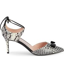 carolyn snake embossed tie ankle pumps