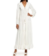 area stars ali tassel tie long sleeve maxi dress, size small in white at nordstrom