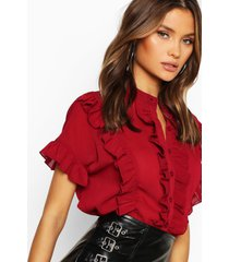 ruffle short sleeved shirt, wine