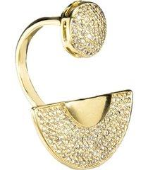 anel banho de ouro meia lua com zirconias