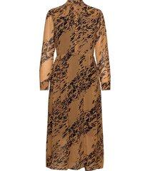 ls button up maxi dress maxi dress galajurk bruin calvin klein