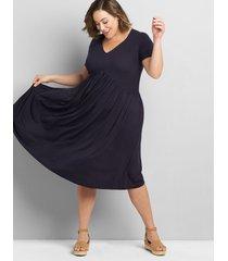 lane bryant women's short-sleeve babydoll fit & flare dress 34/36 night sky